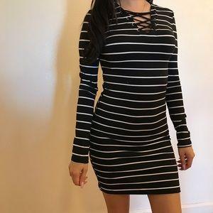 Dresses & Skirts - Lace Up Front Striped Mini Dress